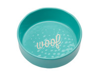 Etched Aqua Woof Bowl