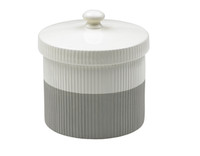 Two Tone Gray & White Ridged Treat Jar