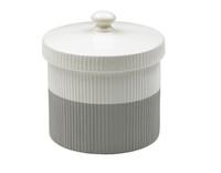 Two Tone Gray & White Ridged Treat Jar