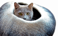 Black & White Ombre Felted Cat Cave