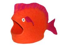 Orange Fish Felted Cat Cave