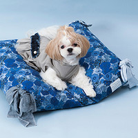Louisdog Blue Flowers Egyptian Cotton Cushion
