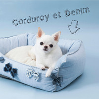Louisdog Corduroy et Denim Egyptian Cotton Boom Bed