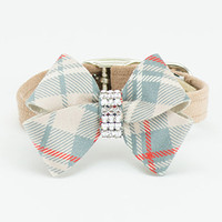 Susan Lanci Scotty Fawn Ultrasuede Collar with Doe Plaid Nouveau Bow