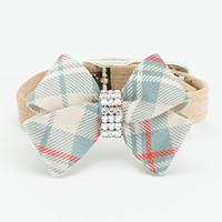 Susan Lanci Scotty Fawn Ultrasuede Collar with Doe Plaid Nouveau Bow