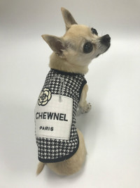Black Chewnel Shopping Bag Houndstooth Dog Tank