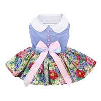 Blue and White Pastel Pearls Floral Dress with Matching Leash