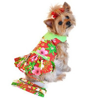 Hawaiian Red Hibiscus Designer Dog Dress with Matching Leash