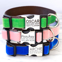 Engraved Buckle Velvet Personalized Dog Collars