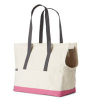 Canvas Pet Tote - Natural & Pink
