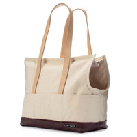 Leather & Canvas Pet Tote - Natural & Crimson