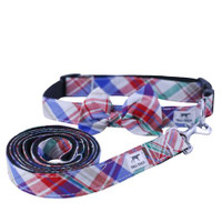 Red Plaid Dog Collar & Leash Set