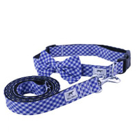 Blue Gingham Dog Collar & Leash Set
