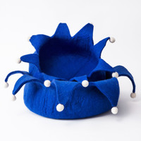 Holiday Blue Wool Pet Basket
