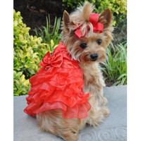Holiday Dog Harness Dress - Red Satin