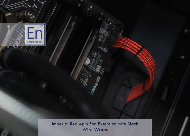 Imperial Red 4pin Fan Extension with Black Wire Wraps