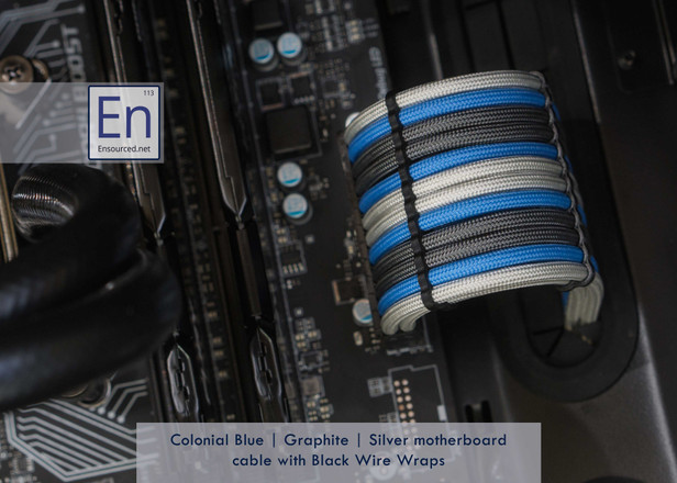 Colonial Blue | Graphite | Silver Motherboard cable with Black Wire Wraps