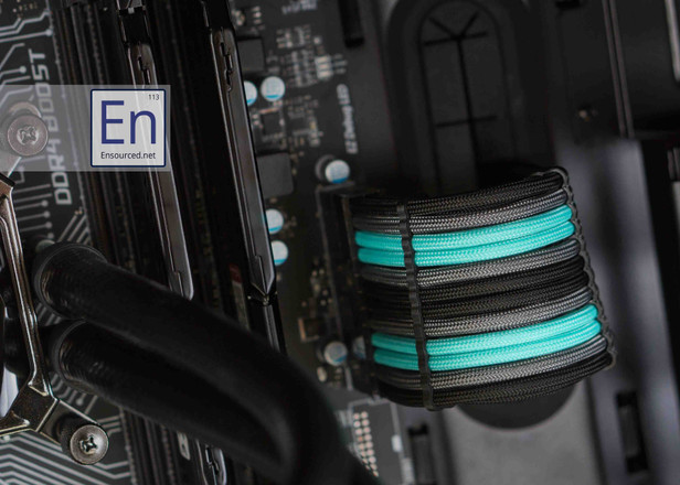 Black | Graphite | Teal motherboard cable with Black Wire Wraps