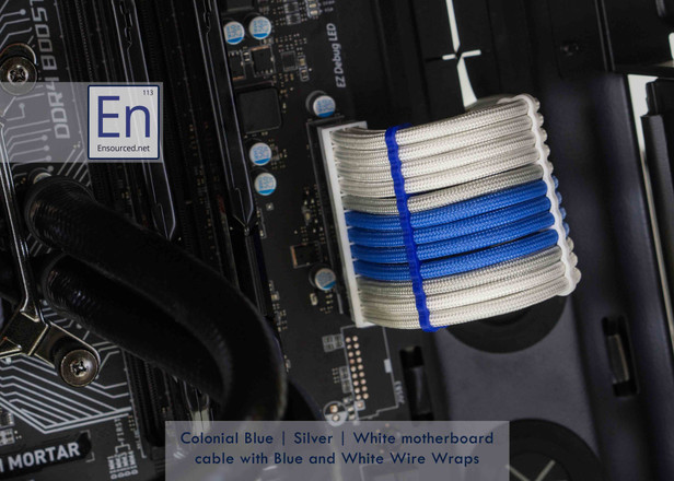 Colonial Blue | Silver | White motherboard cable with Blue and White Wire Wraps
