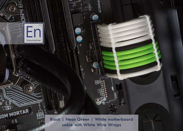 Black | Neon Green | White motherboard cable with White Wire Wraps