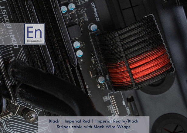 Black | Imperial Red | Imperial Red w/ Black Stripes Motherboard cable with Black Wire Wraps