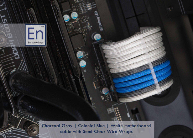 Charcoal Gray | Colonial Blue | White Motherboard cable with Semi-Clear Wire Wraps