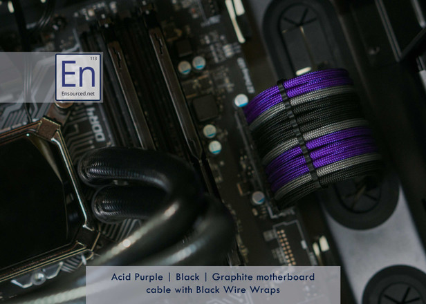 Acid Purple   Black   Graphite Motherboard cable with Black Wire Wraps
