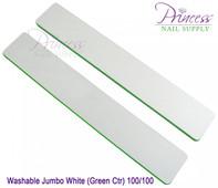 Princess Nail Files, 50 per pack - Washable Jumbo White/Green, Grit: 80/100(#20104)