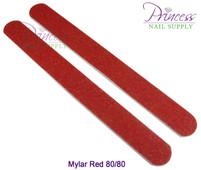 Princess Nail Files, 50 per pack - Mylar Red, Grit: 80/80(#10330)