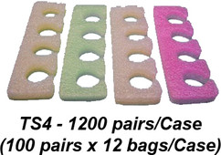 Toe Separators, Multi-Color, Case of 1200 pair (TS4)