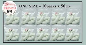 Lamour French Tip One Size - 10 Packs (50 per pack). Size #6