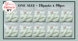 Lamour French Tip One Size - 10 Packs (50 per pack). Size #7
