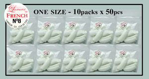 Lamour French Tip One Size - 10 Packs (50 per pack). Size #8