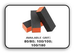 3 Way Buffer block Orange-Black Grit 100/180 Pack of 20pcs