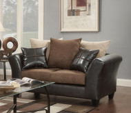 FLATSUEDE CHOCOLATE LOVESEAT