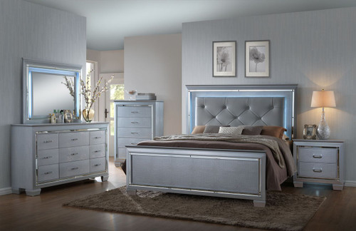 LED LIGHTED LILLIAN QUEEN OR KING 5PC BEDROOM