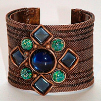 SARAH CAVENDER RIBBED MESH COVERED METAL CUFF WITH DIAMOND SHAPED STONE CONFIGURATION and METAL BEADS