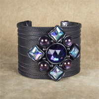 SARAH CAVENDER RIBBED MESH COVERED METAL CUFF WITH DIAMOND SHAPED STONE CONFIGURATION and METAL BEADS~17228B