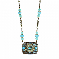 Michal Golan Atlantis Collection - Rectangle Pendant on Beaded Chain Necklace ~ N3388