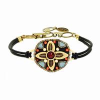 Michal Golan Earth Collection - Circle Pendant on Leather Strap Bracelet ~ SB567