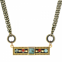 Michal Golan Earth Collection - Sideways Bar Pendant on Triple Chain Necklace ~ N3649