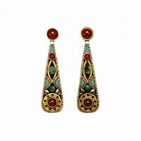Michal Golan Earth Collection - Long Teardrop Pendant Post Earrings ~ S8025
