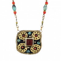 Michal Golan Earth Collection - Medium Square Pendant on Partially Beaded Chain Necklace ~ N3652