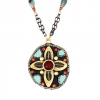 Michal Golan Earth Collection - Medium Circle Petals Pendant on Double Partially Beaded Chain Necklace ~ N3650