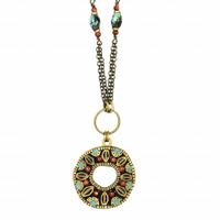 Michal Golan Earth Collection - Open Circle Pendant on a Beaded Single Chain Necklace ~ N3719