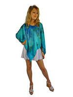 Hand Painted Silk Poncho~Franklin Street Studio~FS1028