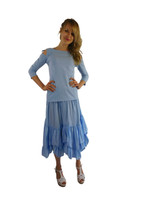 Luna Luz Garment Dyed Open Sleeve Top~Sky Blue~044