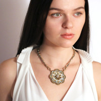 Michal Golan Gold & Clear Flower Necklace