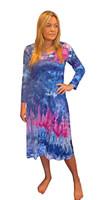 Ice Tye Dye Midi Dress by Martha~Dark Peony