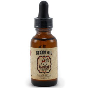 AJ's Elixirs Beard Oil in Tahoe Gold conditions and benefits both skin and hair.